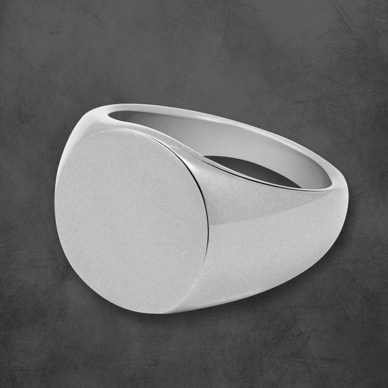 PERSONALIZED SIGNET RING HIGH POLISH GUNMETAL