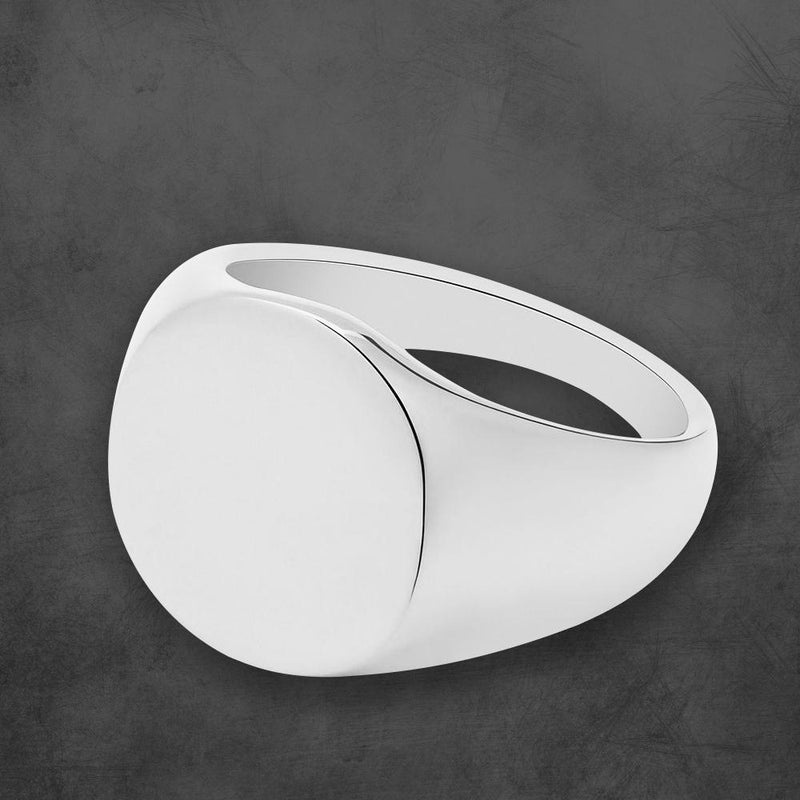 PERSONALIZED SIGNET RING HIGH POLISH SILVER