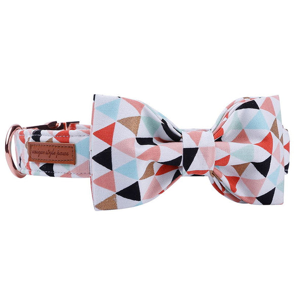 Premium Multi Color Bow Tie Collar & Leash