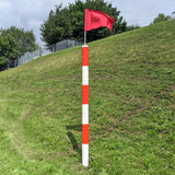 Barber Pole with Flag Red