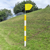 Barber Pole with Flag Yellow