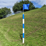Barber Pole with Flag Blue