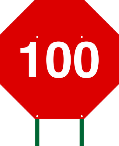 Distance Sign Octagonal Red 100