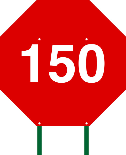 Distance Sign Octagonal Red 150