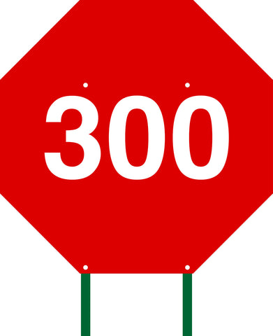 Distance Sign Octagonal Red 300