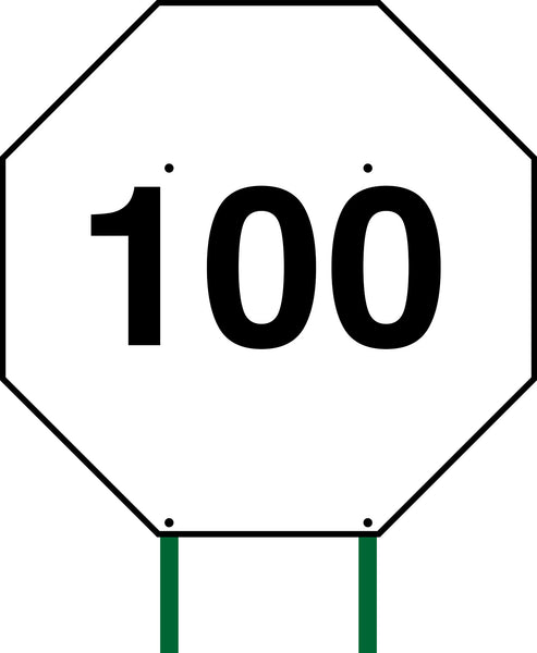 Distance Sign Octagonal White 100