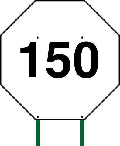Distance Sign Octagonal White 150
