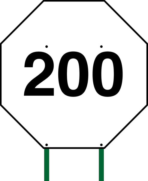 Distance Sign Octagonal White 200
