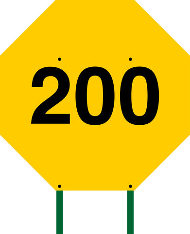 Distance Sign Octagonal Yellow 200