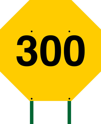 Distance Sign Octagonal Yellow 300