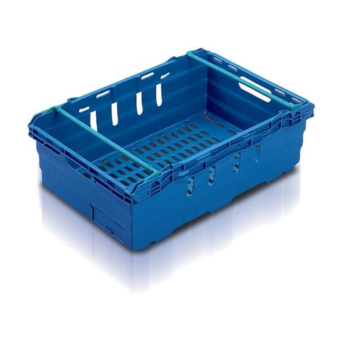 Driving range golf ball stacking crate in blue