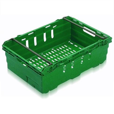 Driving range golf ball stacking crate in green