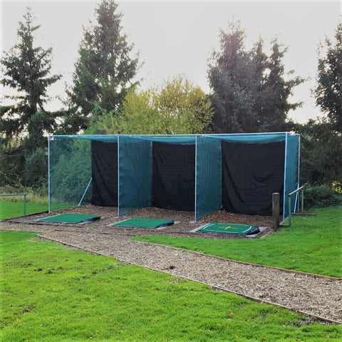 Golf practice enclosure net triple bay
