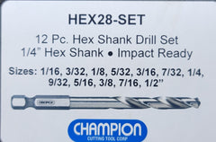 12pc Hex Shank Drill Bit Set