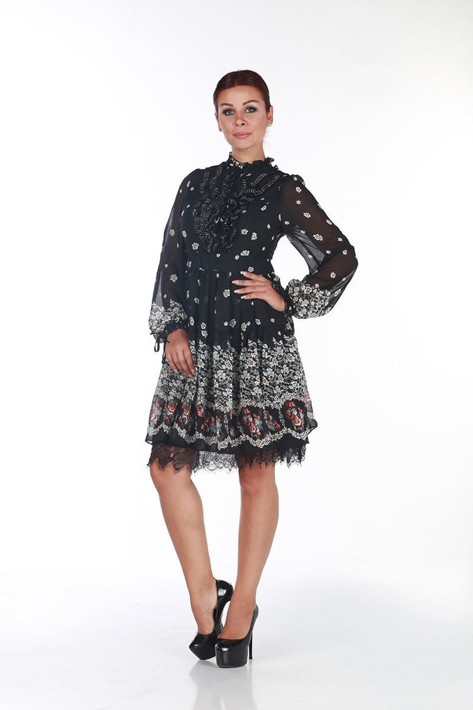 SERPIL ELEGANT CHIFFON DRESS - Black