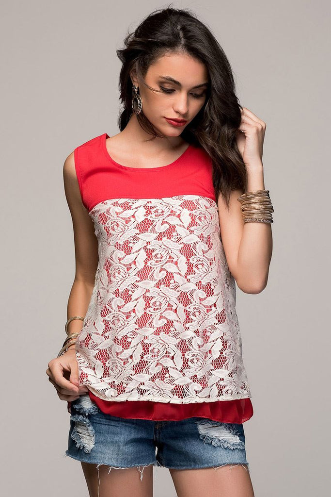 ModaMore LACE DESIGN BLOUSE - Red