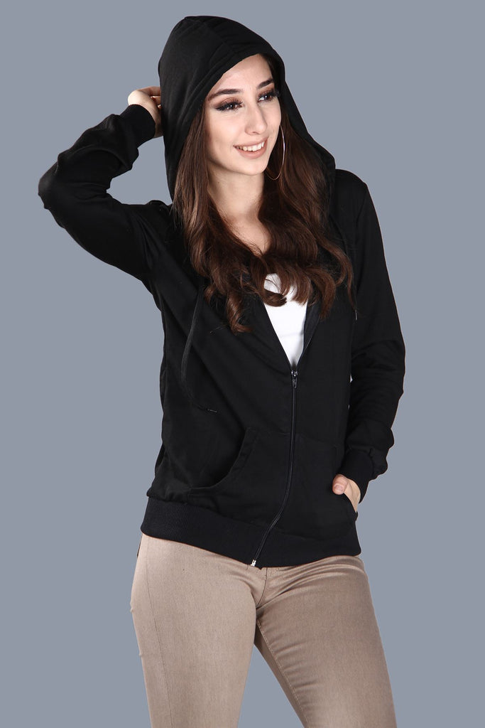 Women's Pocket Black Sweatshirt