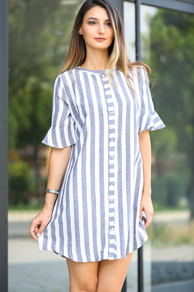 Women's Front Button Striped Short Dress