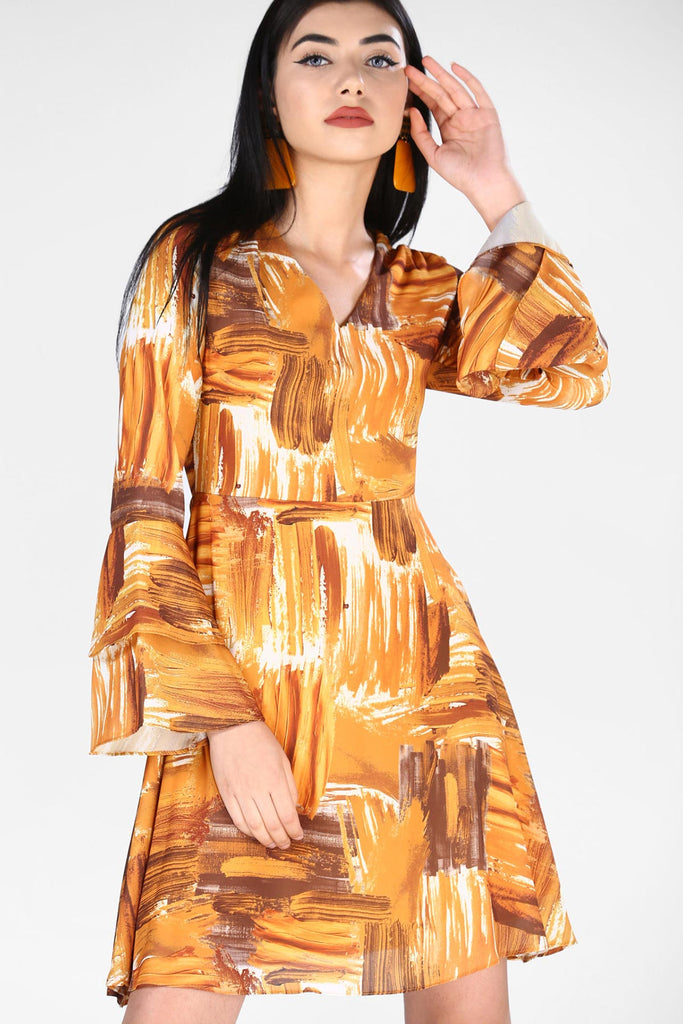 Women's Patterned Mustard Dress