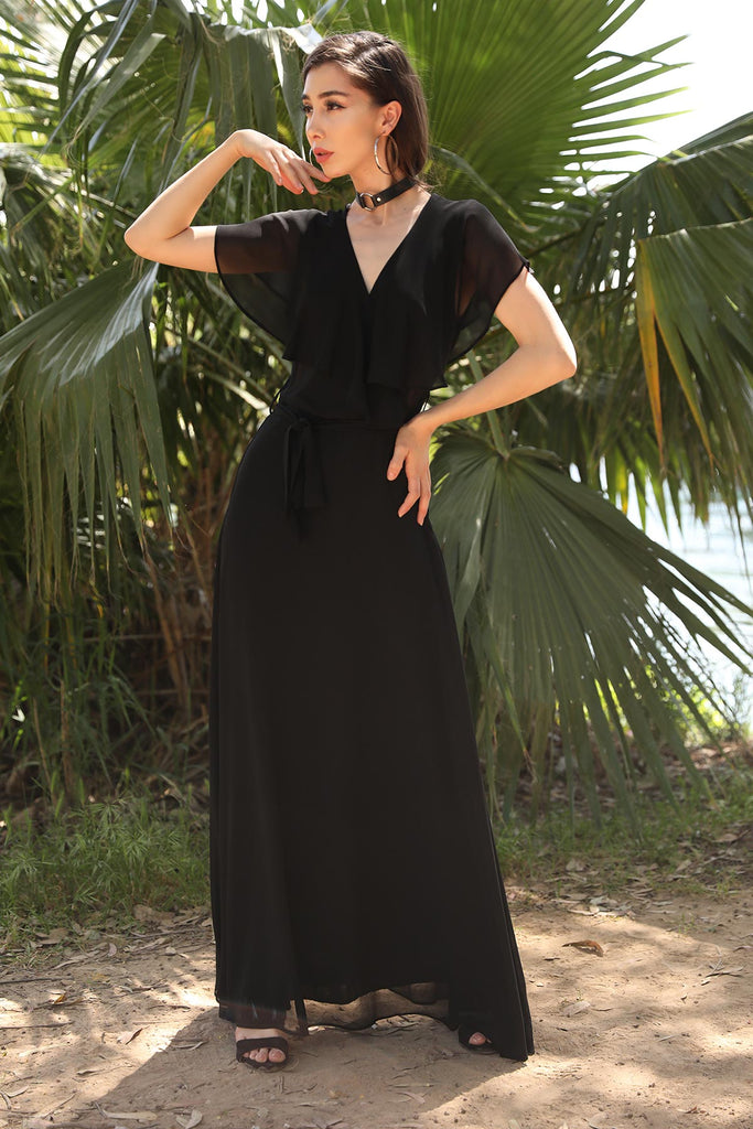 Women's Long Black Chiffon Dress