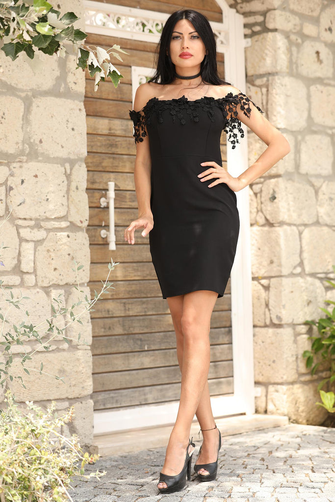 Women's Guipure Boat Neck Black Dress