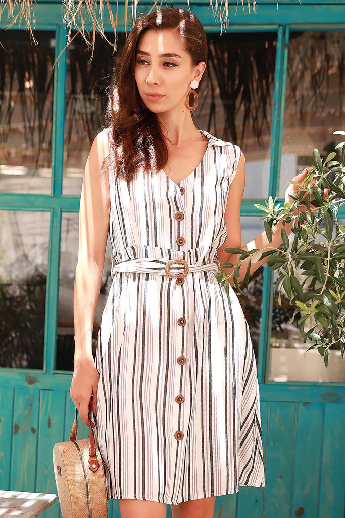 Women's Belted Striped Dress