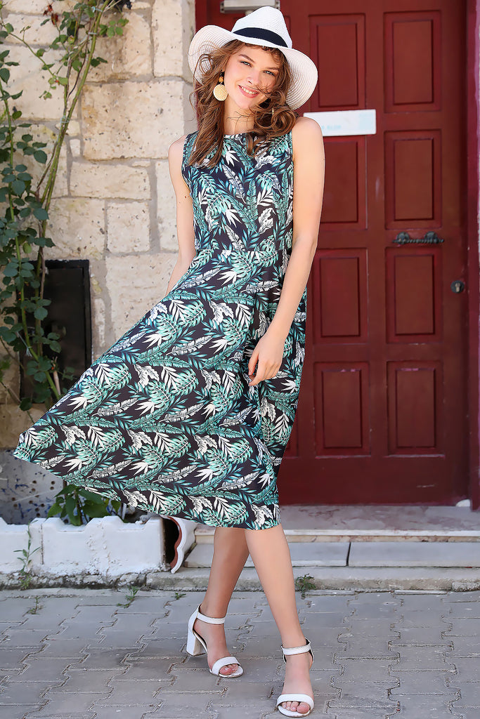 Women's Leaf Pattern Dress