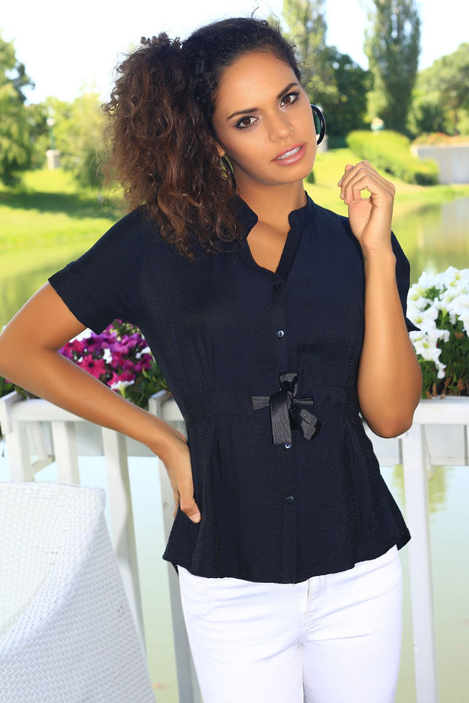 Women's Crew Neck Black Blouse