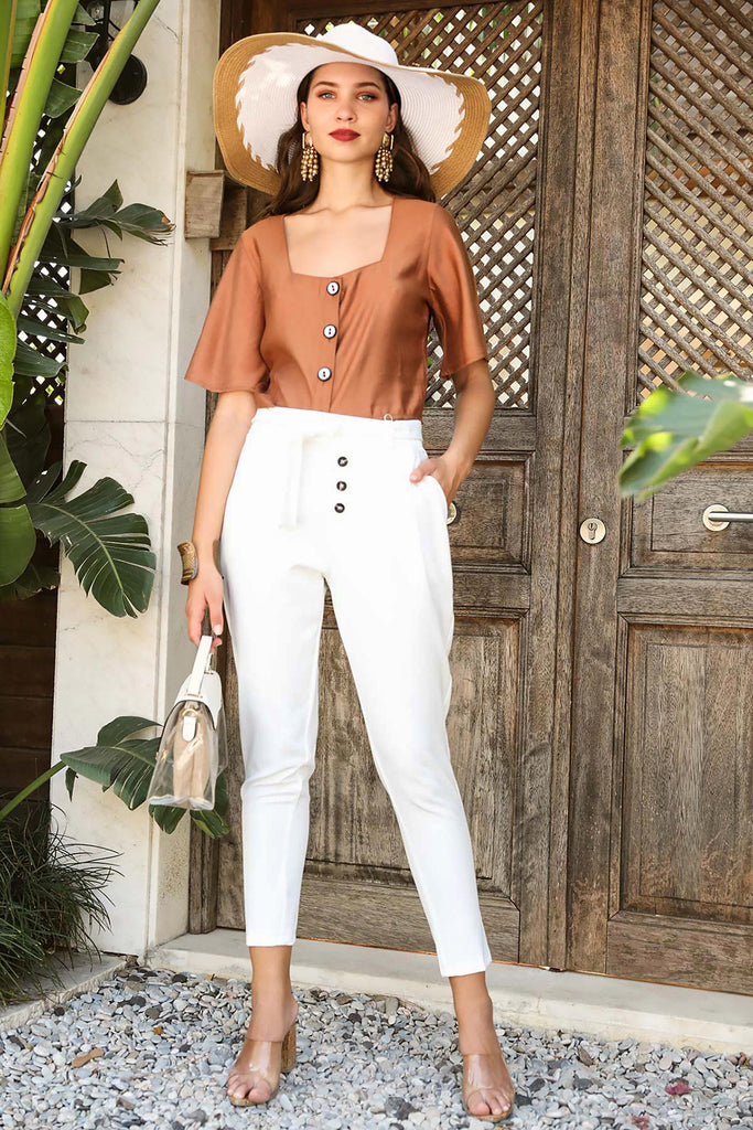 Women's Belted Ecru Pants