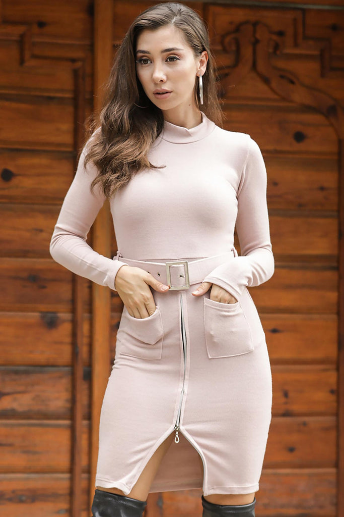Women's Zipper Powder Rose Tricot Short Dress