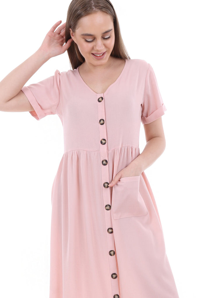 Women's Double Pocket Button Front Dress