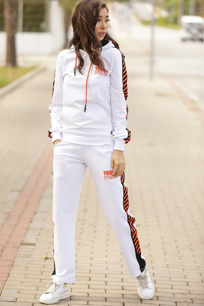 Women's Hooded Printed White Training Suit