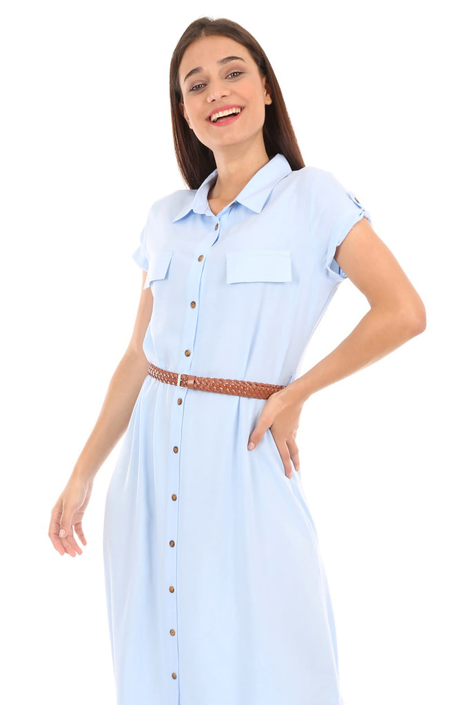 Women's Belted Short Sleeves Dress