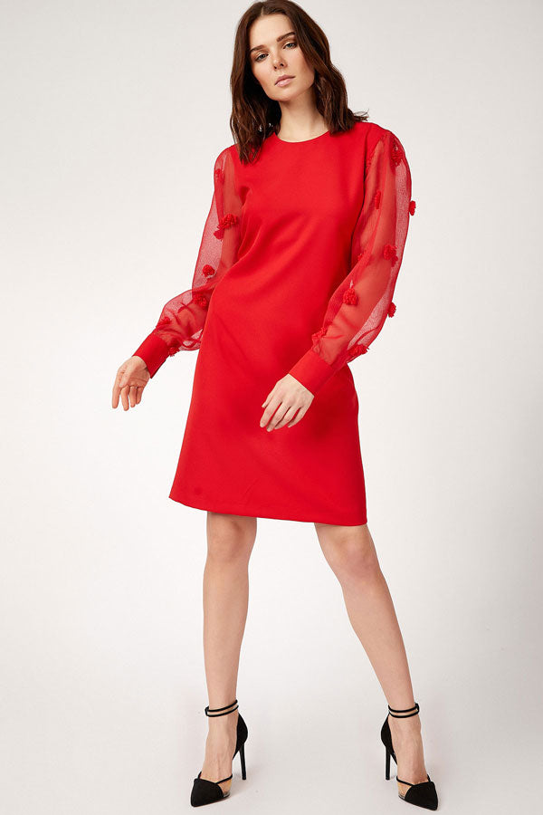 Women's Floral Sleeves Red Short Dress