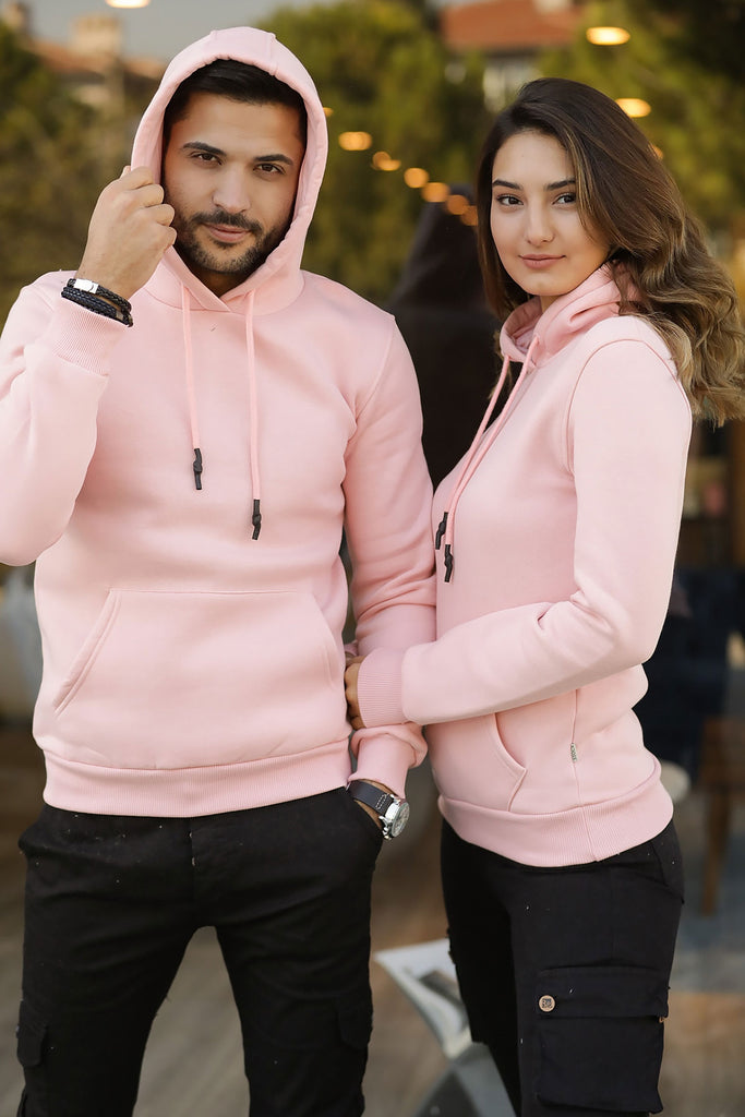 Unisex Hooded Kangaroo Pocket Pink Sweatshirt