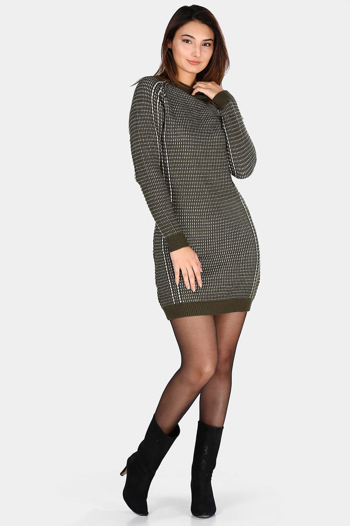 Women's Patterned Khaki Short Dress
