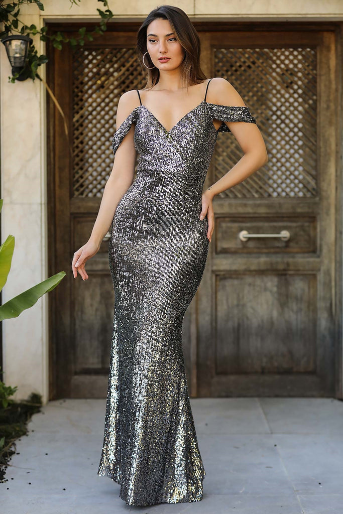 Women's Fish Model Sequin Long Evening Dress