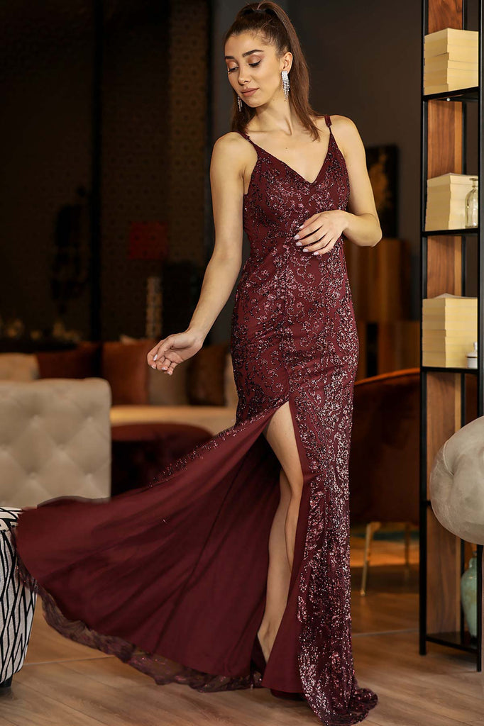 Women's Slit Sequin Claret Red Long Evening Dress