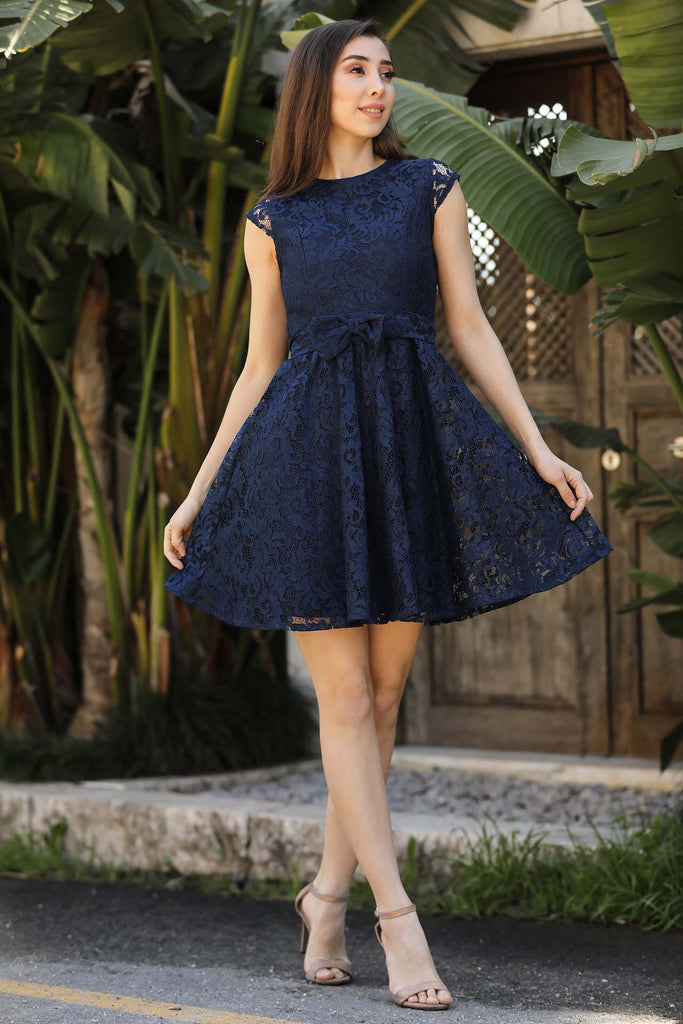 Women's Bow-tie Belted Navy Blue Lace Short Evening Dress