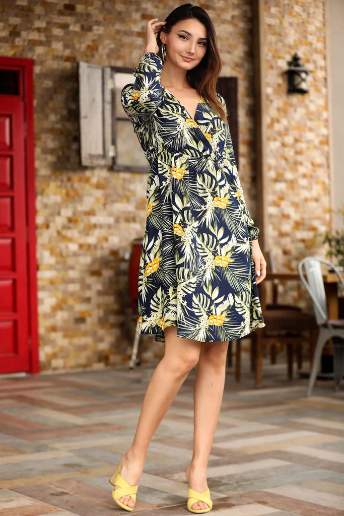 Women's Wrap Elastic Waist Patterned Short Dress