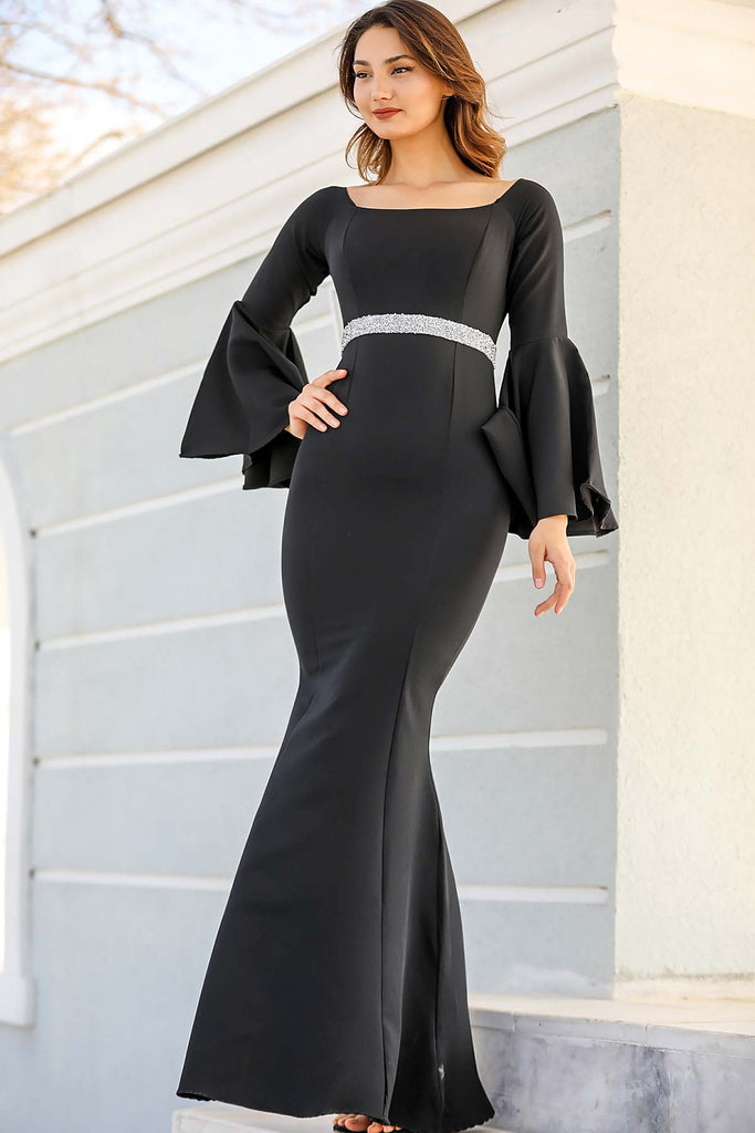 Women's Ruffle Sleeves Gemmed Waist Fish Model Black Evening Dress