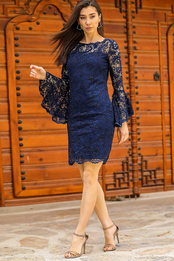 Lace Detailed Navy Blue Dress