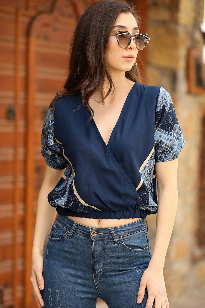 Women's Patterned Navy Blue Blouse