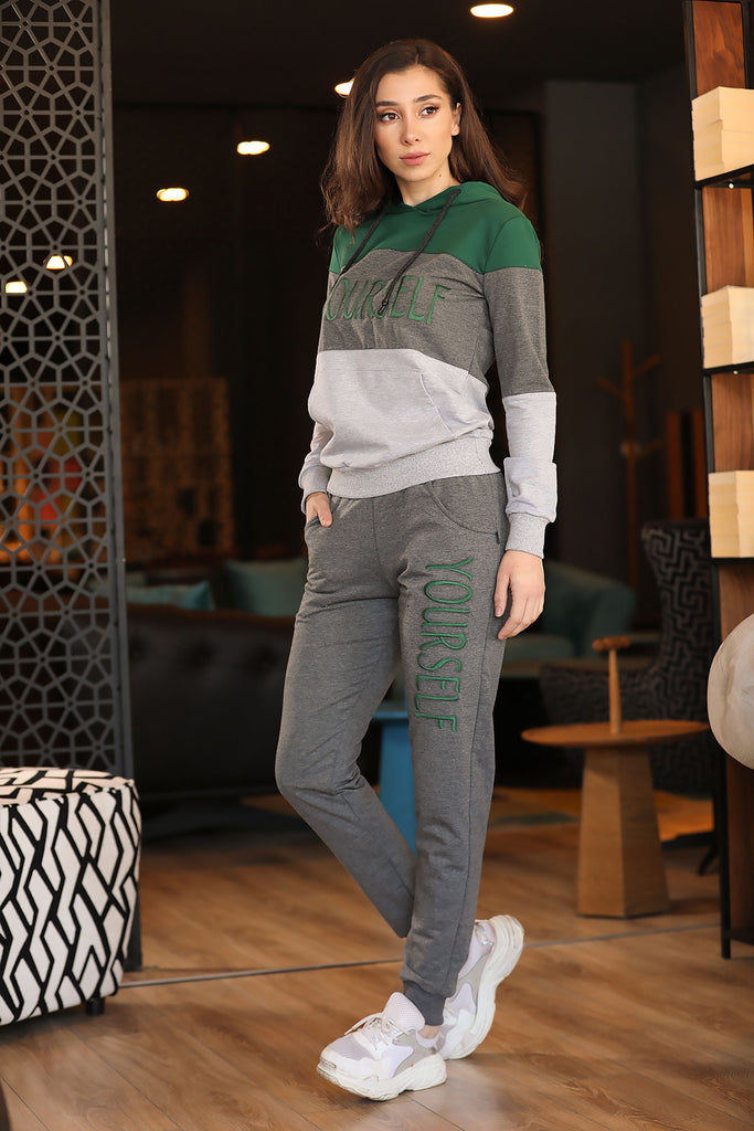 Women's Hooded Green Sweat Suit