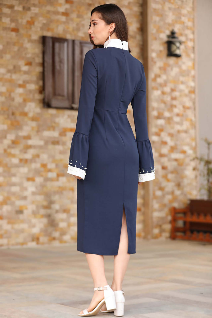 Women's Pearled Navy Blue Dress