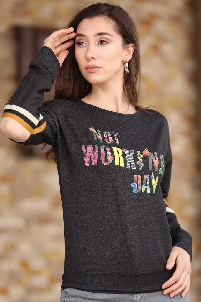Women's Patterned Anthracite Sweatshirt