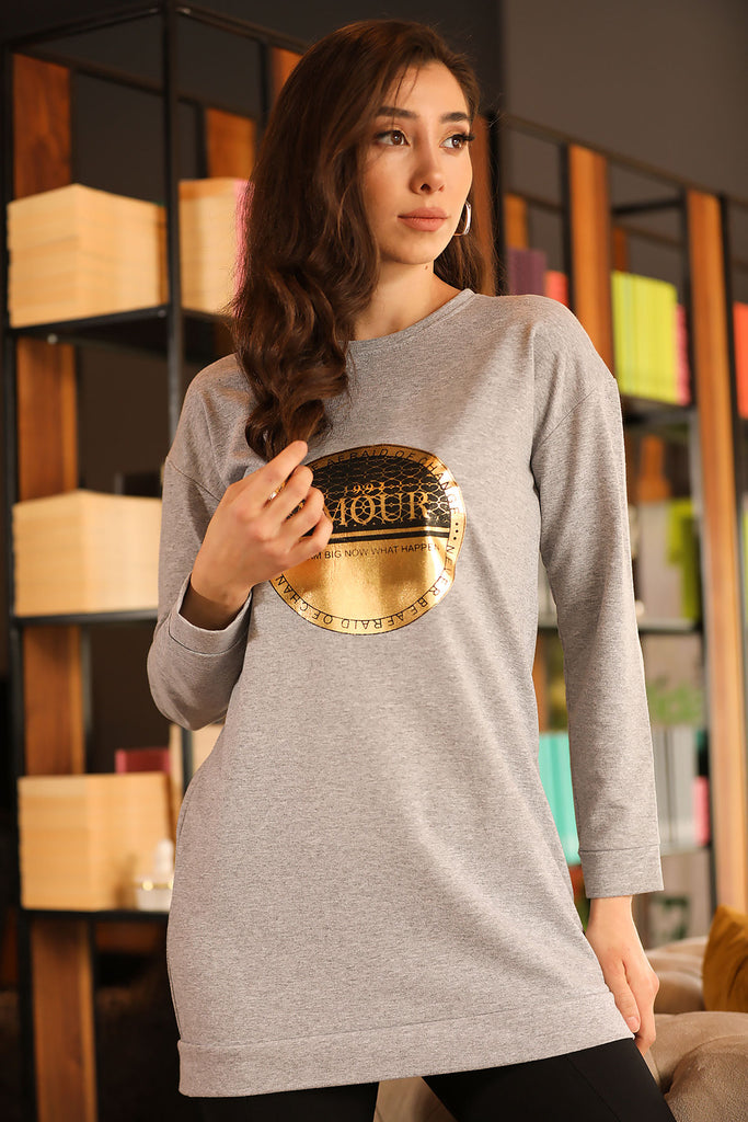 Women's Printed Grey Sweatshirt