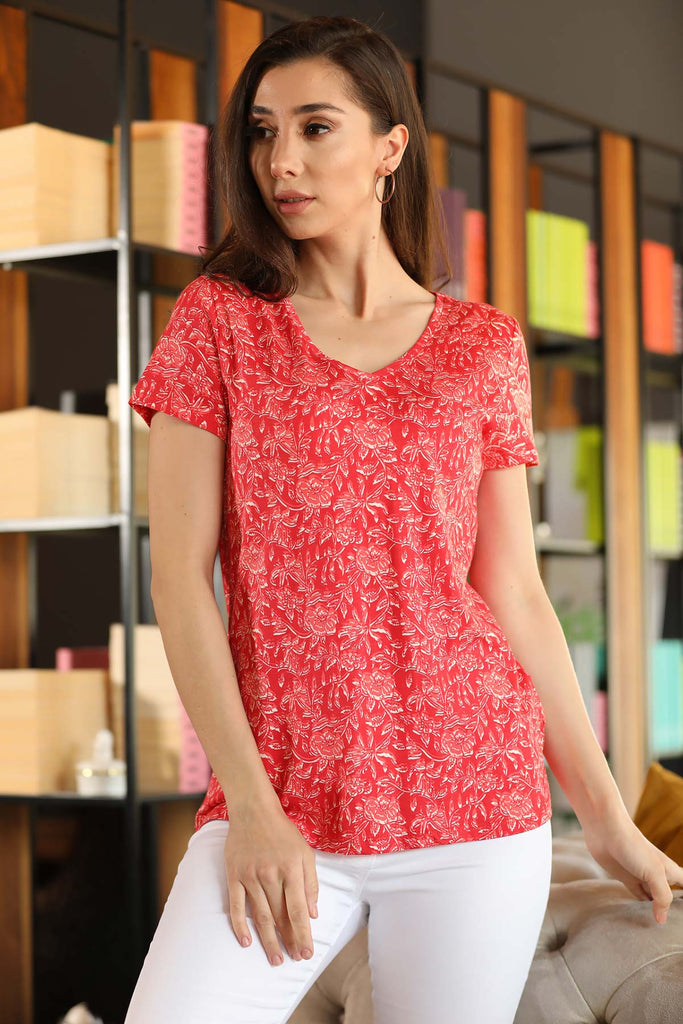 Women's Patterned Red Blouse