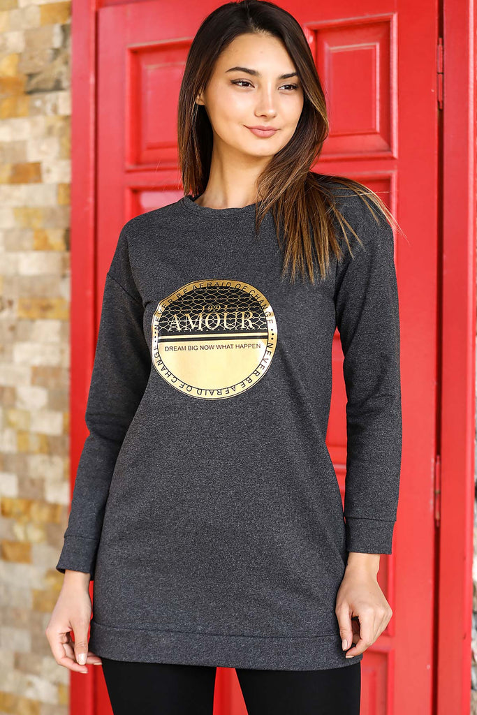 Women's Printed Anthracite Sweatshirt