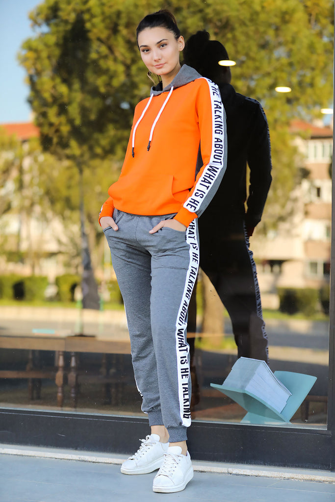 Women's Printed Orange Grey Sweat Suit